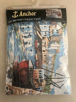 """Anchor Tapestry Kit~Polperro Cornwall~12 x 15""""~Seaside Boats~British Collection"""