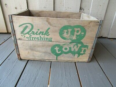 "Vintage Uptown Soda Crate Double Sided Great Color 17"" x 10"" x 12"""