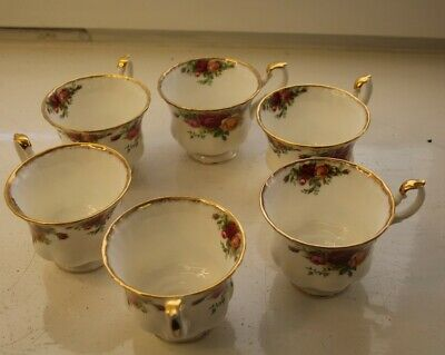x6 Royal Albert Old Country Roses teacups with gold colour rim ##DAWQ3BG