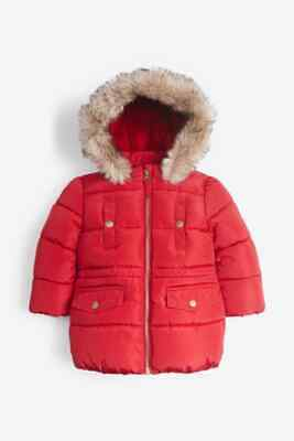 NEXT Girls Red Jacket Padded Coat With Faux Fur Trim Hood 3-4 6-7 Years RRP £34