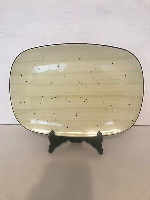 ITI Rotana Oblong Rectangular Platter 12 X 9 Lime Green Speckled Stoneware