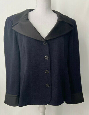 St John Evening Santana Knit Black Jacket Satin Lapels Cuffs Size 16 $1985.00