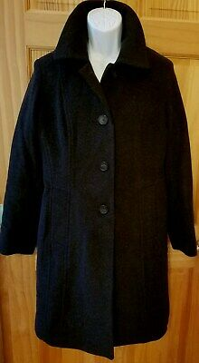 Anne Klein Wool Cashmere Charcoal Gray Long Over Coat Trench Women's Sz 12 Lined