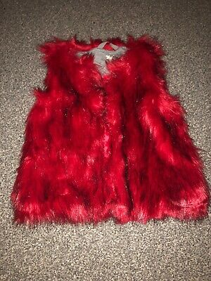 Girls Next Faux Fur Red Bodywarmer Gilet Jacket Age 8 Immaculate Worn Once