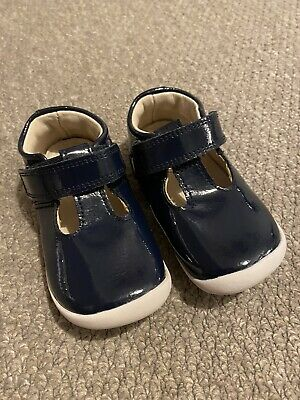 Clarks Baby Girls Shoes Navy Patent Leather 4.5 G Rrp £32