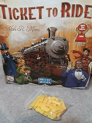 Yellow Train Cars Ticket to Ride Board Game Replacement Parts 45 pieces