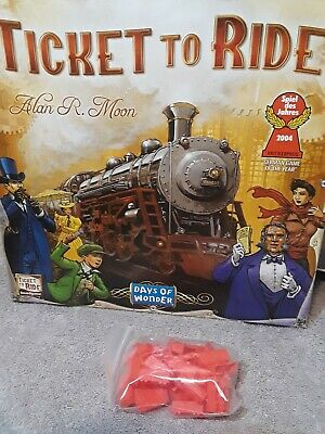 RED  Train Cars Ticket to Ride Board Game Replacement Parts 45 pieces