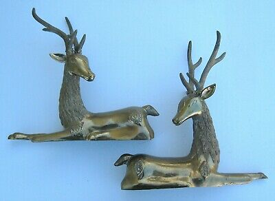 "Vintage Brass Reclining Deer/ Reindeer, Pair, 11.5"" Tall"