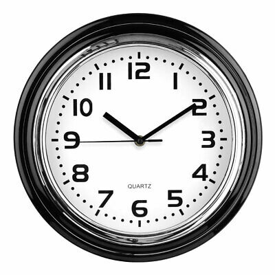 Premier Housewares Modern Wall Clock Round Chrome Finish Plastic