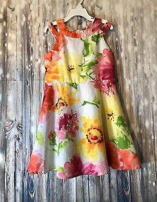 The Childrens Place Girls Sleeveless Floral Dress Size 6 100% Polyester