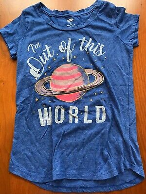 Girls Old Navy Size 8 Blue Space Short Sleeve T-Shirt