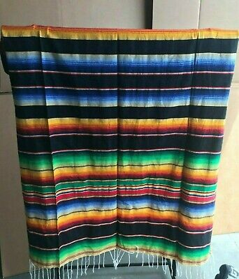 Serape XXL,5' X 7',Mexican Blanket,HOT ROD, Seat Covers,Motorcycle, BLACK MIX 1