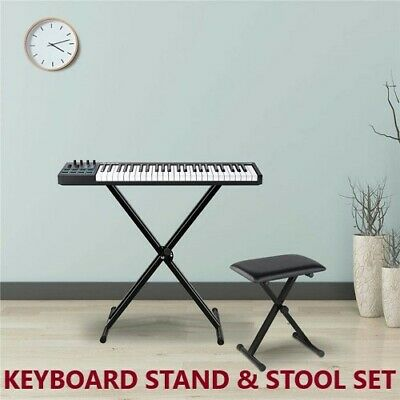 Keyboard Stand Piano Stool Seat Adjustable Portable Folding Bench Chair Seat SET