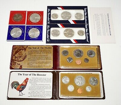 1980/81 Singapore Coin Proof sets 4x $10/$5 2x 1976 US Bicent. Red Pack (IMa)#73