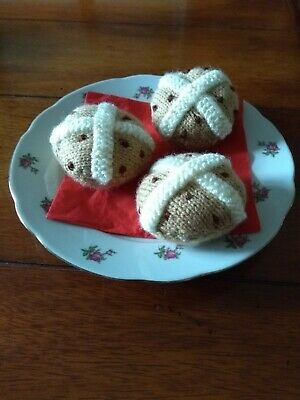3 Hand Knitted Easter Hot Cross Buns -Childrens Educational Toy food/Role play