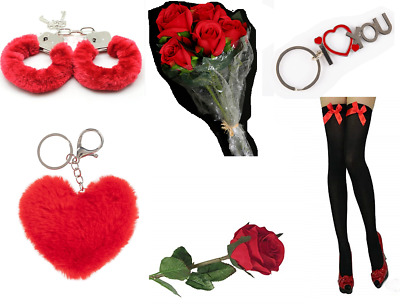 HEN STAG ROMANTIC EROTIC GIFTS IDEAS HER & HIS LOVE HEART Rose Bud RED Cuffs UK