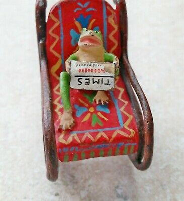Rare Vintage 1910 Vienna Bronze Frog in Rocking Chair Reading Times Newspaper1