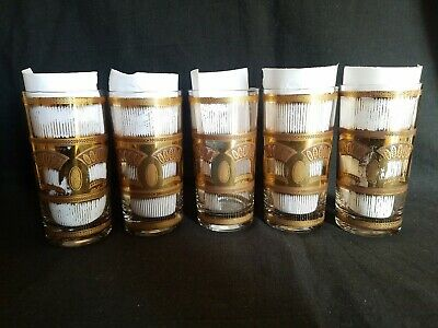 "5 Vintage MCM  Culver Highball Glasses Festival Wheat Pattern Signed 5 1/2""H"