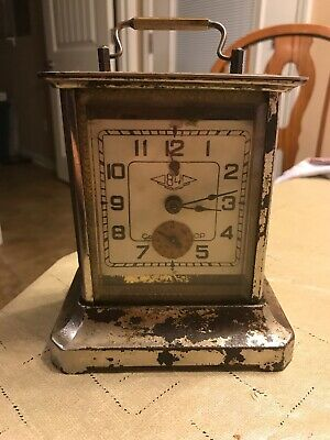 Vintage Carriage Clock For Restoration Or Parts - Beveled Glass- project Piece