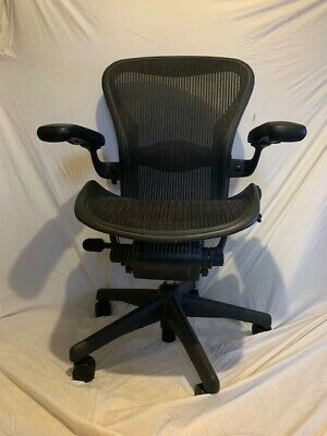 Herman Miller Aeron Office Chair - Navy Blue, Black, Size B
