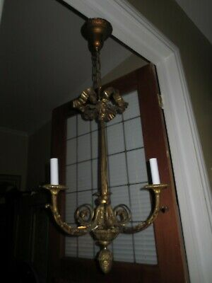Antique Arts and Crafts Solid Brass Ceiling Fixture