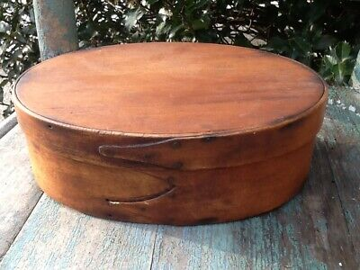 Early Primitive Oval Double Fingered Authentic Shaker Wood Pantry Box Patina