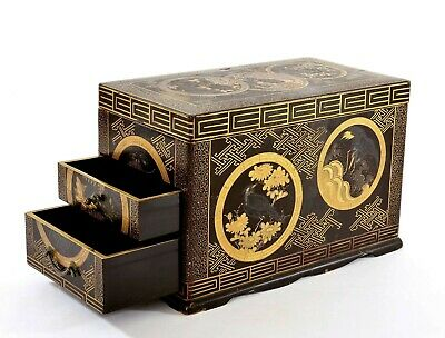 1900's Japanese Wood Makie Lacquer Box Chest Tray Turtle Crane Bird & Flower