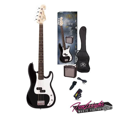 SX SB2SKB 4 String P Bass Guitar with Amp and Accessories in Black