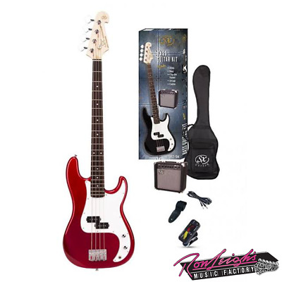 SX SB2SKCAR 4 String P Bass Guitar with Amp and Accessories in Candy Apple Red