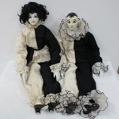 Vintage Pair of Pierrot Harlequin Dolls Porcelain Head and Limbs #417