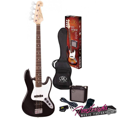 SX SB1SKB 4 String J Bass Guitar with Amp and Accessories in Black