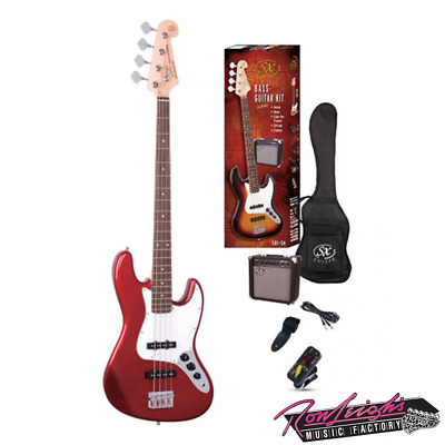 SX SB1SKCAR 4 String J Bass Guitar with Amp and Accessories in Candy Apple Red