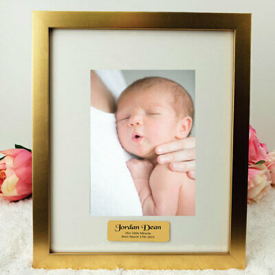 Baby Gold 5x7 Photo Frame with Personalised Message - Unique Baby Gift