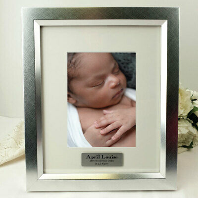 Baby Personalised Photo Frame 5x7 Photo Silver - Unique Baby Gift