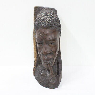 Wooden Bust of an African / African American Man Smoking a Pipe #460