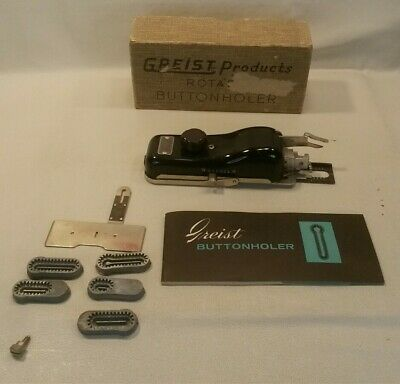 ☆ Vintage Greist Products Rotary Sewing Machine Attachments W/Box Buttonholder