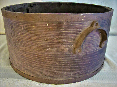 ANTIQUE LARGE DRY GRAIN MEASURE STEEL BANDS c.1800s OLD OXBLOOD RED PAINT