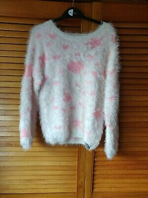 Girls fluffy white jumper with pink glitter hearts and stars for 9-10 years