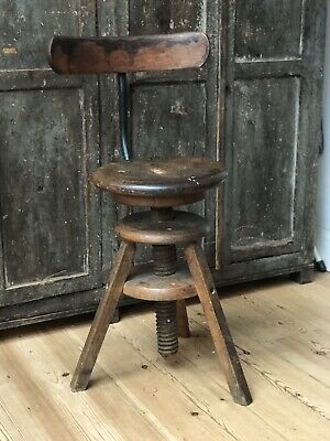 antique industrial Work Bench Stool Chair Seat Factory Adjustable S W London