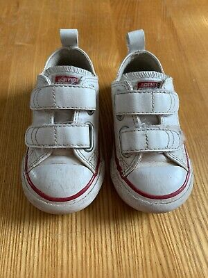 Toddler White Leather Converse With Velcro Strap Size 5 - Infant / Baby / Kids