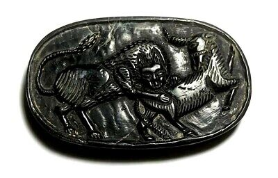Ancient agate intaglio Cow Worship Sacred water Eagle Flying Scarab Pendant