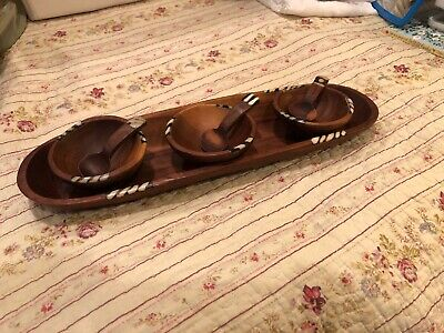 Handmade Wood Condiment Bowls And Tray With Black And White Inlay