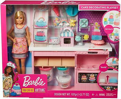 New Barbie Playset - Cake Decorating With Blonde Doll, Baking Counter And Toy