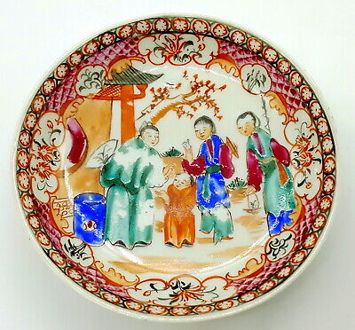 Antique Chinese Export Porcelain Famille Rose Mandarin small plate