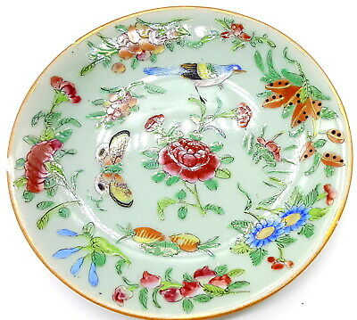 Antique Chinese Celadon Famille Rose plate