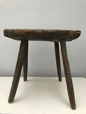Antique Jacobean Country Oak Spindle back chair base stool dark wood seat