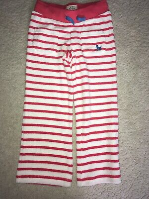 Mini Boden Red Stripe Girls Towelling Beach Trousers Age 4