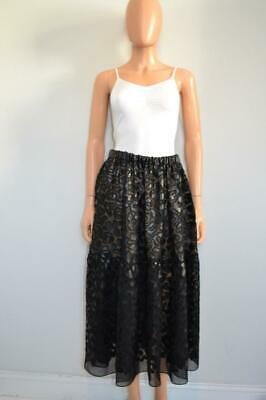 Stella McCartney Black/Nude Underlay Long Faux Leather Textured Skirt 44/US 8