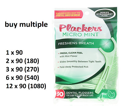 Dental Mint Micro Flossers Plackers Protected Pick Multiple Packs of 90 - 1080