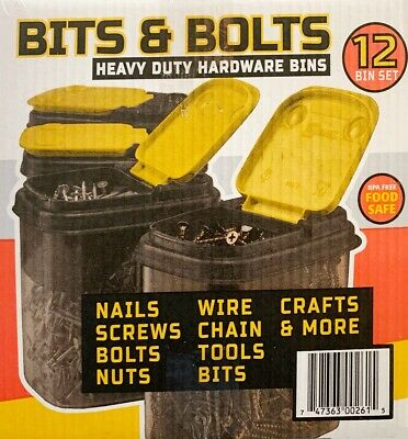 BUDDEZZ BITS & BOLTS Heavy Duty Hardware Bins Container Organiser Storage Boxes